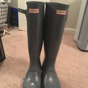 Gray Glossy tall original hunter boots